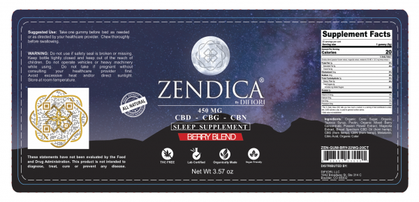 Zendica Berry Blend Gummies Sleep Supplement Label - CBD Gummies - Organic - All natural - CBD - CBG - CBN