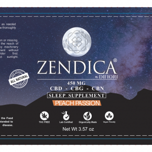 Zendica Peach Passion Gummies Sleep Supplement Label - CBD Gummies - Organic - All natural - CBD - CBG - CBN