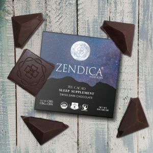 Sleep supplement, Zendica, CBD, CBG, CBN, Organic, All natural, organic chocolate, vegan, vegan chocolate, Dark chocolate